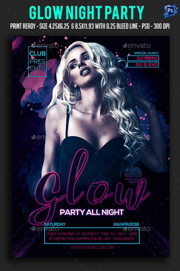 Glow Party All Night Party Flyer  - Clubs & Parties Events
