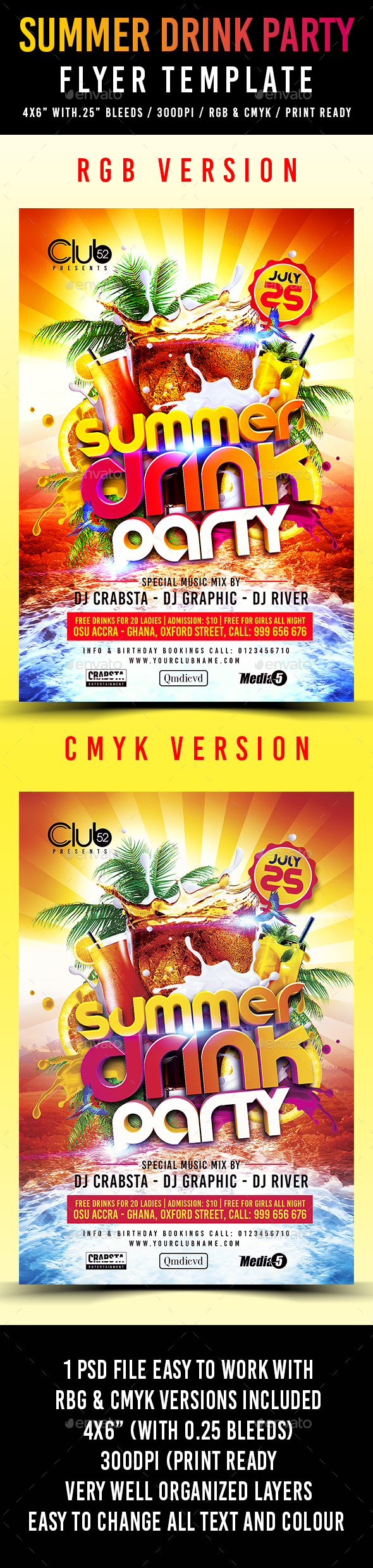Summer Drink Party Flyer Template - Flyers Print Templates