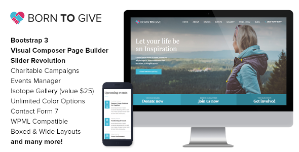 Born To Give – Charity Crowdfunding Responsive WordPress Theme