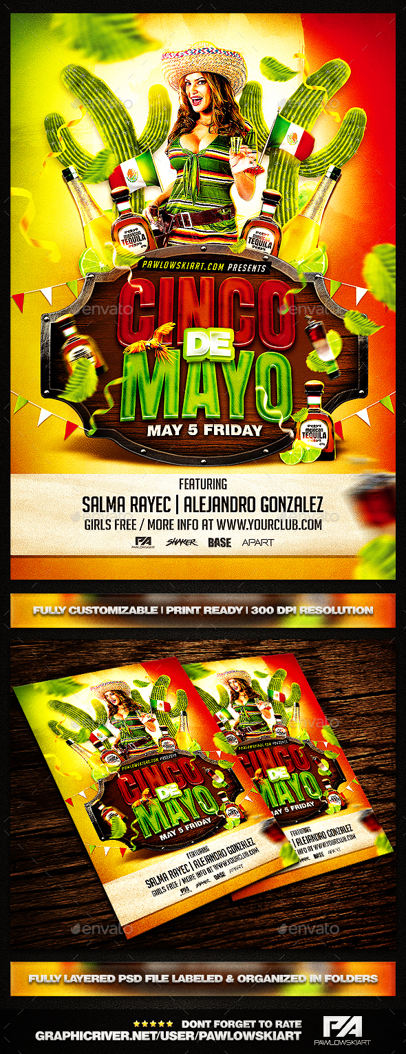 Cinco De Mayo PSD Flyer Template - Holidays Events