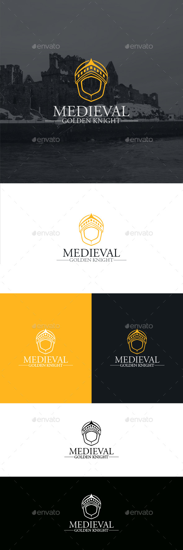 Medieval Golden Knight Logo Template - Symbols Logo Templates