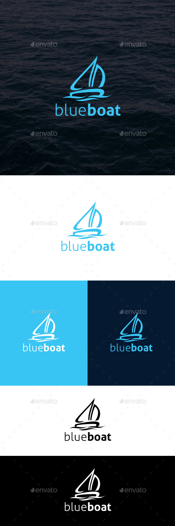 Blue Boat Logo Template - Symbols Logo Templates