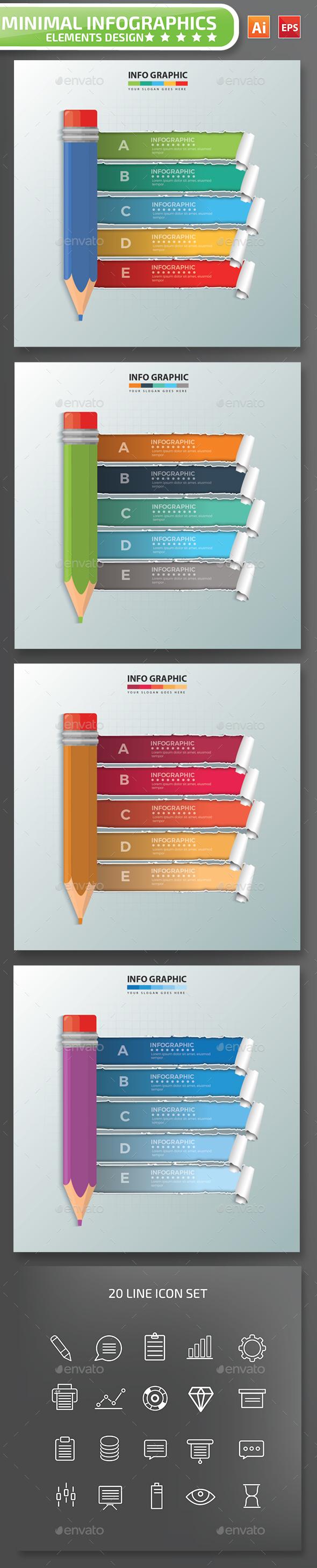 Minimal Pencil infographic Design - Infographics