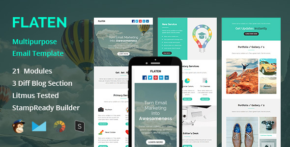 Flaten - Multipurpose Responsive Email Template + Stampready Builder - Email Templates Marketing
