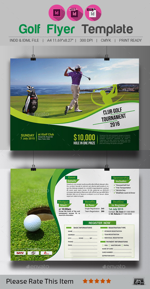 Golf tournament flyer template by aam360 graphicriver for Golf brochure template