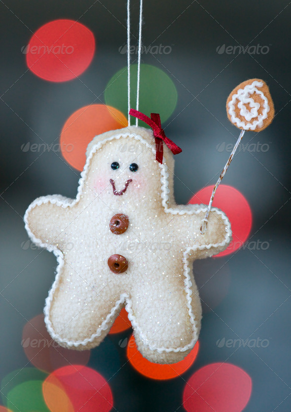 Gingerbread man christmas decoration - Stock Photo - Images