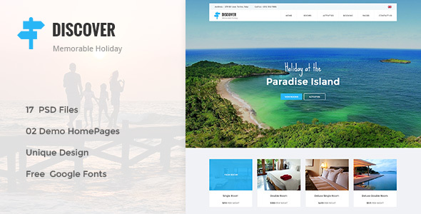 DISCOVER – Beach, Forest, Countryside Hotel & Resort PSD Template