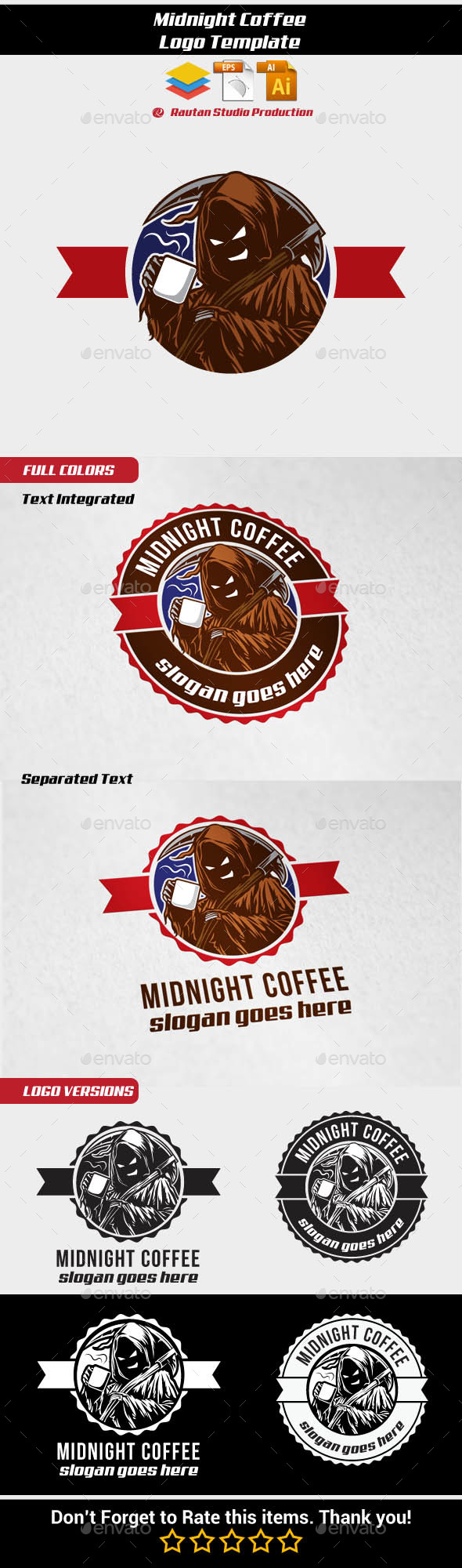 Midnight Coffee - Food Logo Templates