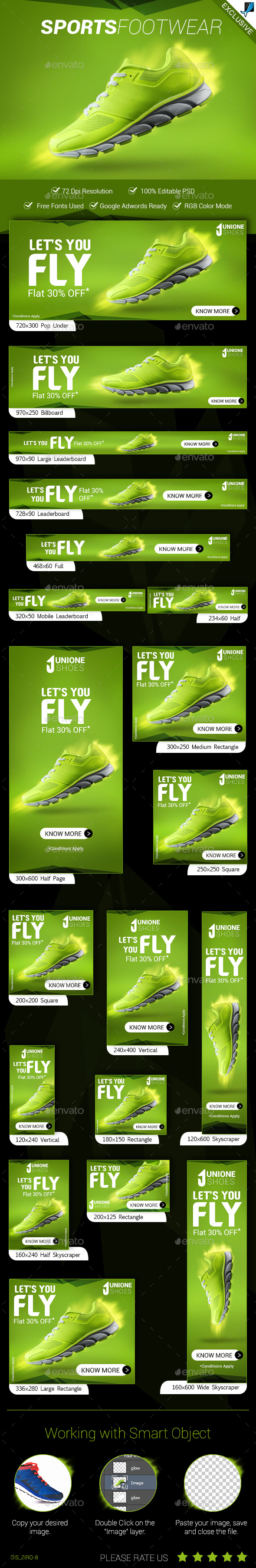 Sports Footwear Ad Banners - Banners & Ads Web Elements