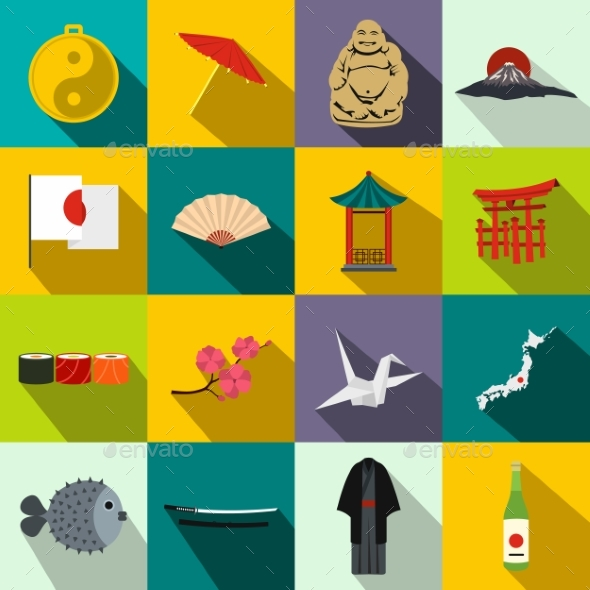 Japan Icons Set Flat - Miscellaneous Icons