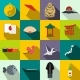 Japan Icons Set Flat - GraphicRiver Item for Sale