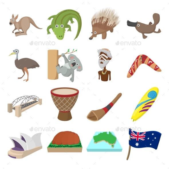 Australia Icons Cartoon - Miscellaneous Icons