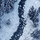 Flight Over River In Snowfall - VideoHive Item for Sale
