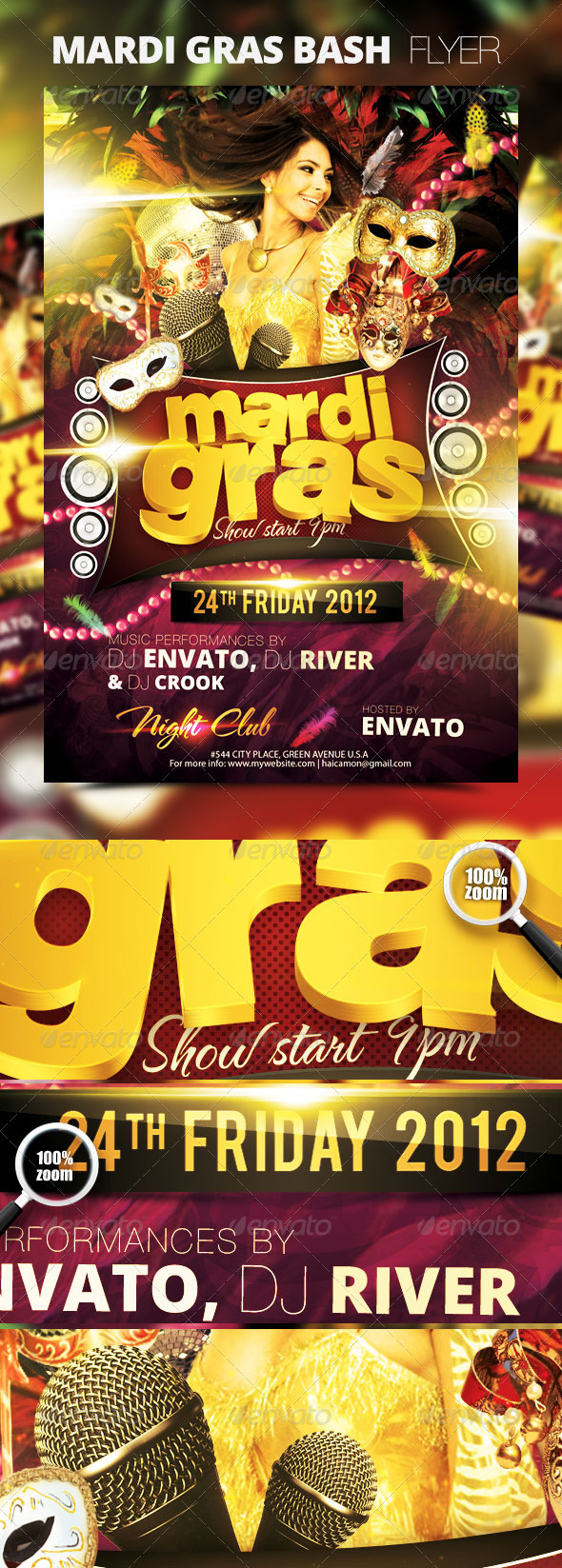 Mardi Gras Bash Flyer Vol_1 - Clubs & Parties Events