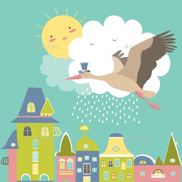 Stork is Flying in the Sky - Animals Characters