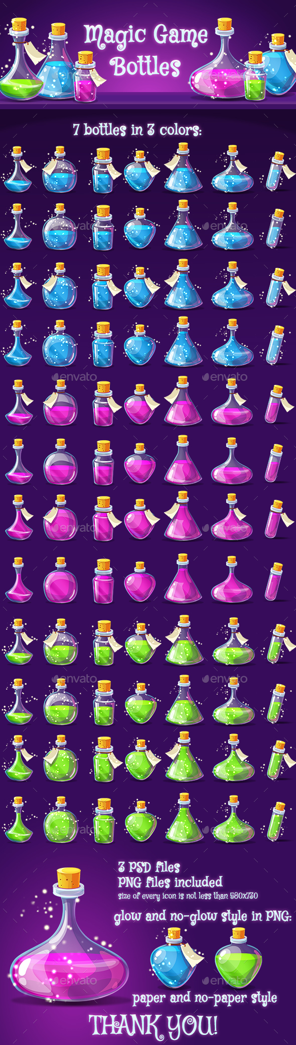 Magic Poison Game Icons Set - Miscellaneous Game Assets