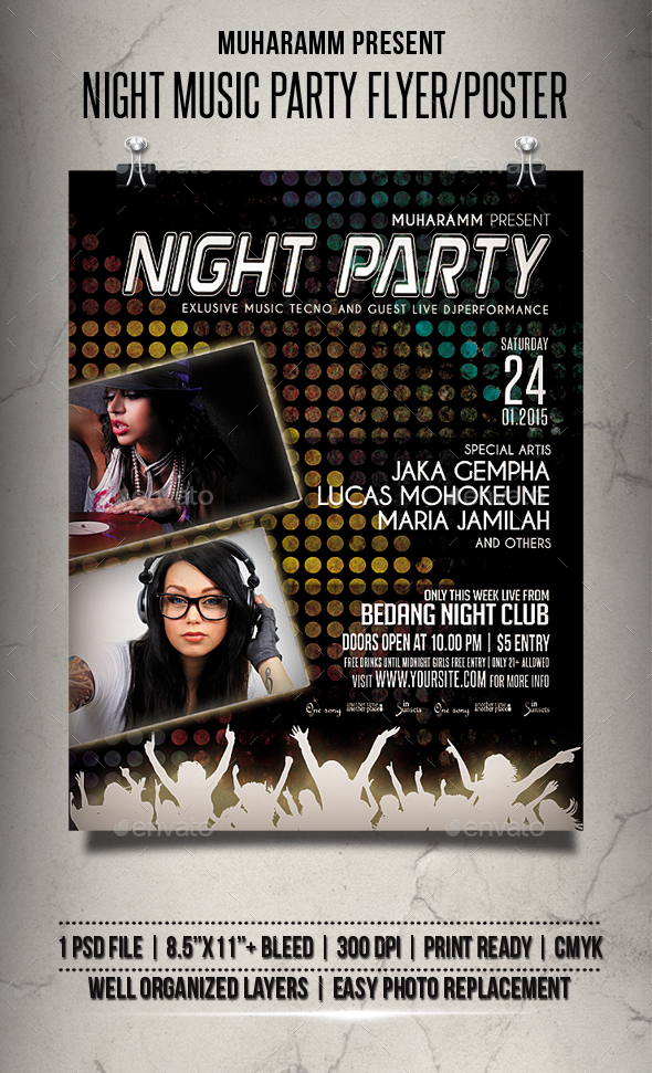 Night Music Party Flyer / Poster - Clubs & Parties Events
