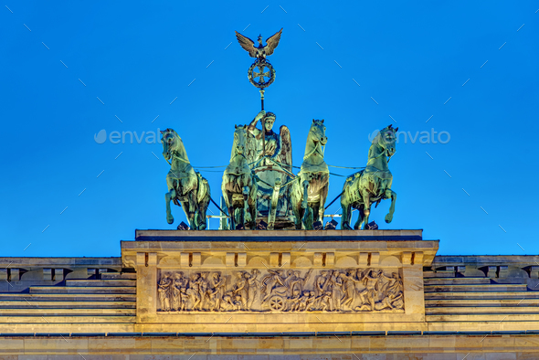 Detail of the Quadriga at night - Stock Photo - Images
