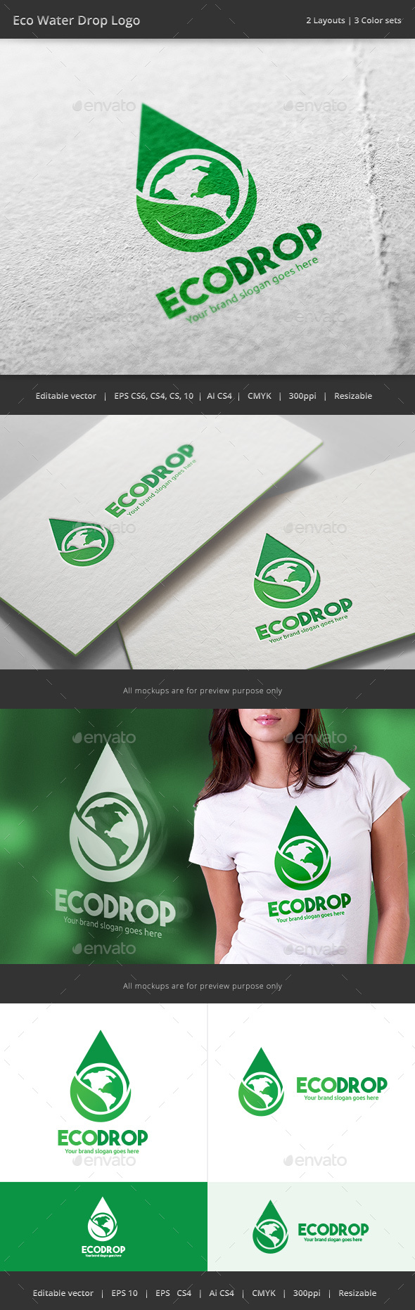 Eco Water Drop  Logo - Nature Logo Templates