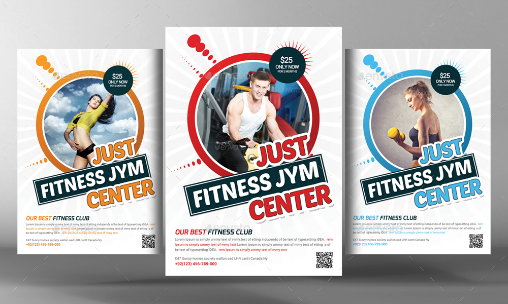2 fitness flyer template by graphicforestnet graphicriver. Black Bedroom Furniture Sets. Home Design Ideas