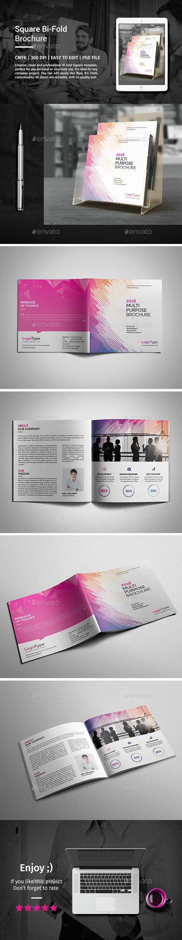 Corporate Bi-fold Square Brochure 04 - Catalogs Brochures