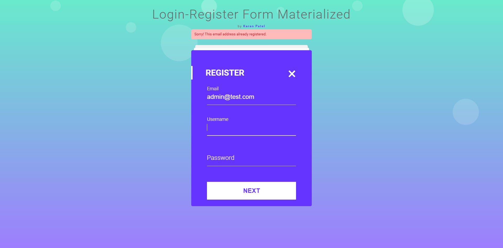 Login registration form in mvc materialize design by previewimagesalreadyregisteredg falaconquin
