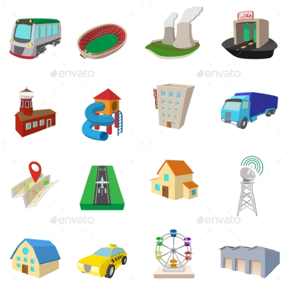City Icons Set, Cartoon Style - Miscellaneous Icons
