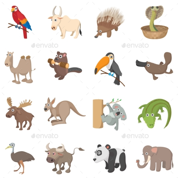 Animal Icons Set, Cartoon Style - Miscellaneous Icons