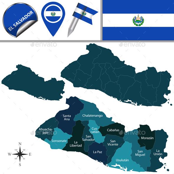 Map of El Salvador with Named Department - Travel Conceptual