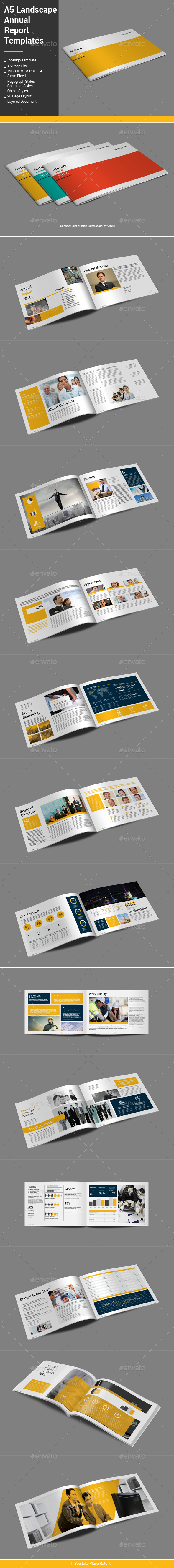 A5 Landscape Annual Report Template - Informational Brochures