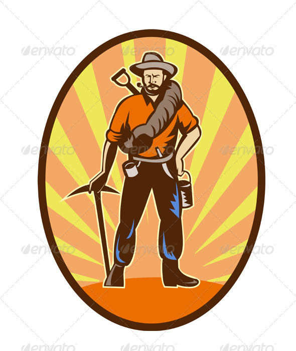 Gold Digger MIner Prospector Retro - People Characters