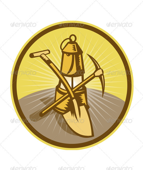Coal Miner Lamp Pick Axe Shovel Retro - Objects Vectors