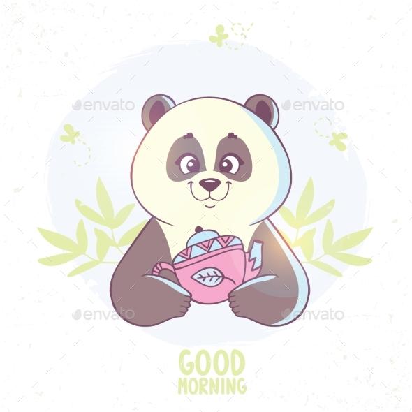 Panda and Tea - Animals Characters