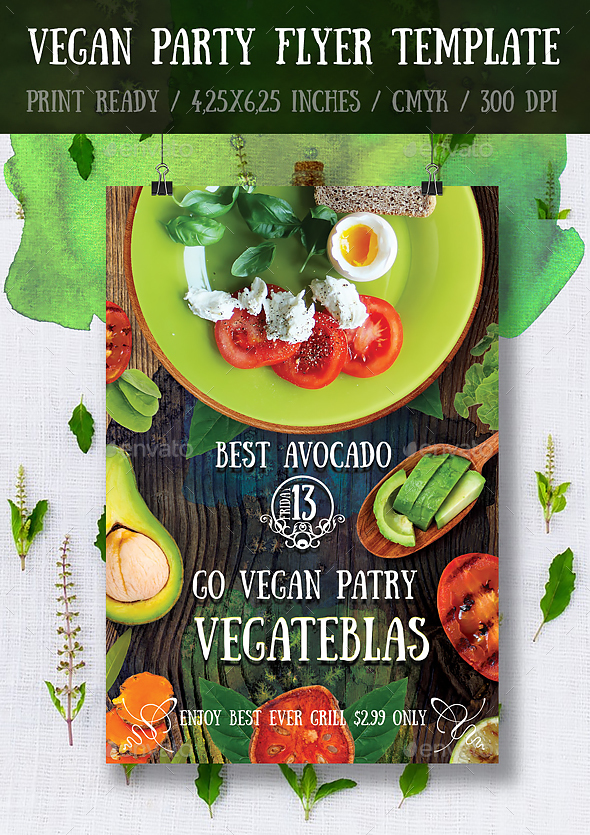 vegan flyerposter template by bugsster