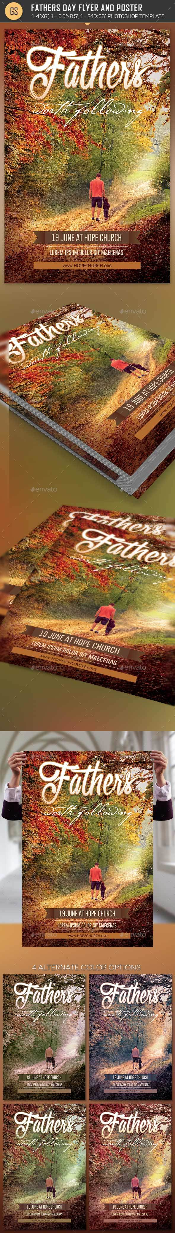 Fathers Day Flyer Poster Template - Church Flyers