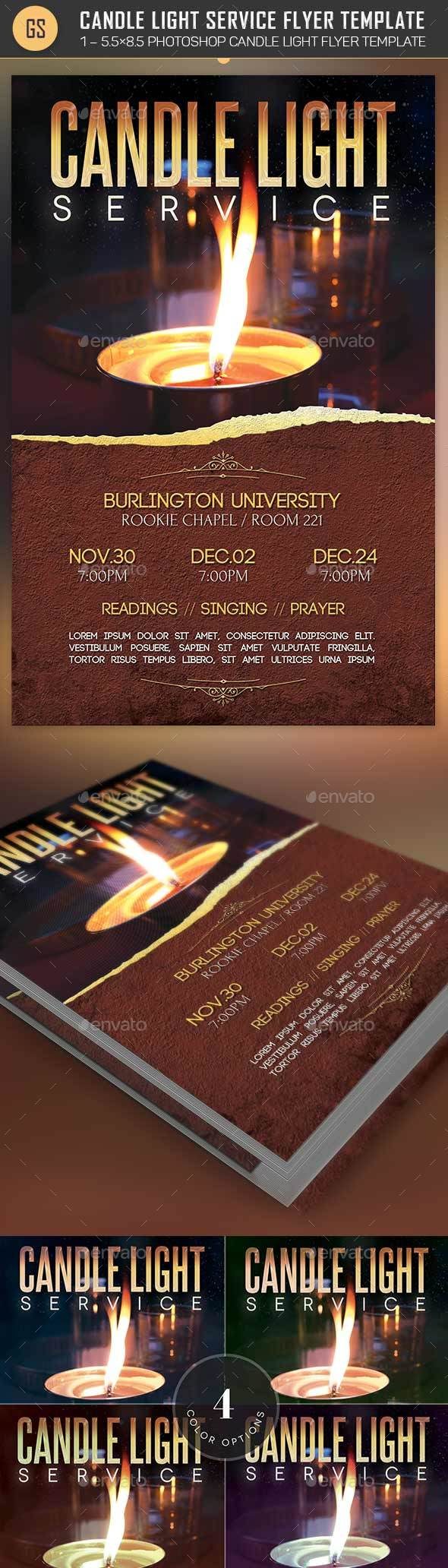 Candle Light Service Flyer Template - Church Flyers