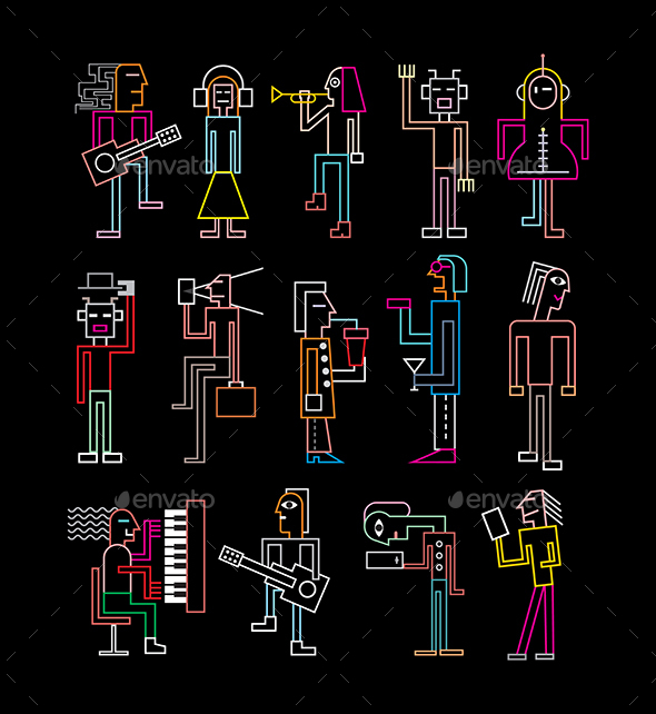 Neon Silhouettes of People - People Characters