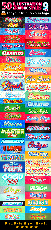 50 Illustrator Graphic Styles Bundle Vol.9 - Styles Illustrator