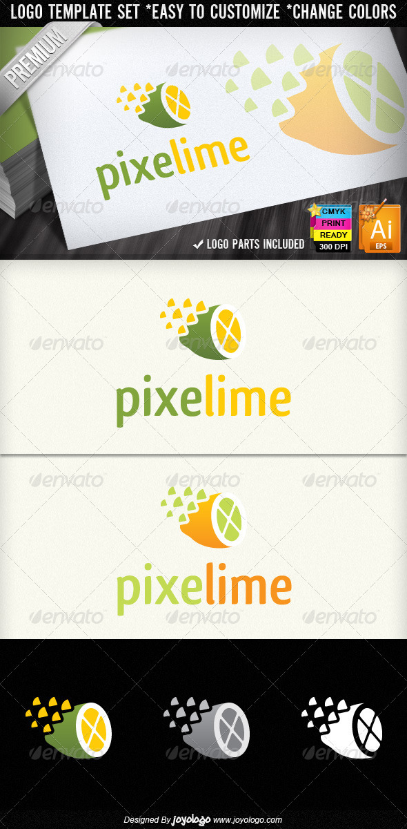 Pixel Lime Creative Stuido Lemon Logo Designs - Food Logo Templates