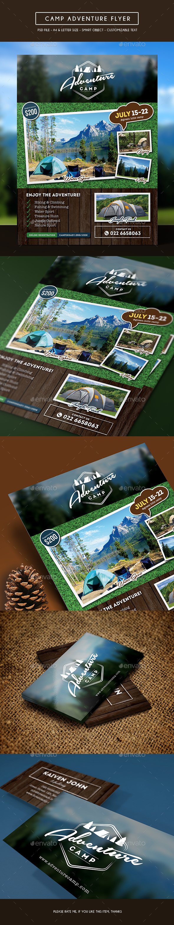 Camping Adventure Flyer + Business Card - Sports Events