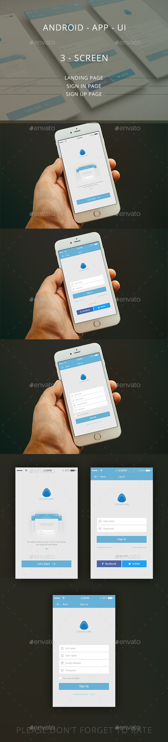 IOS / Mobile App UI / Landing/Log in/ Sign up page - User Interfaces Web Elements