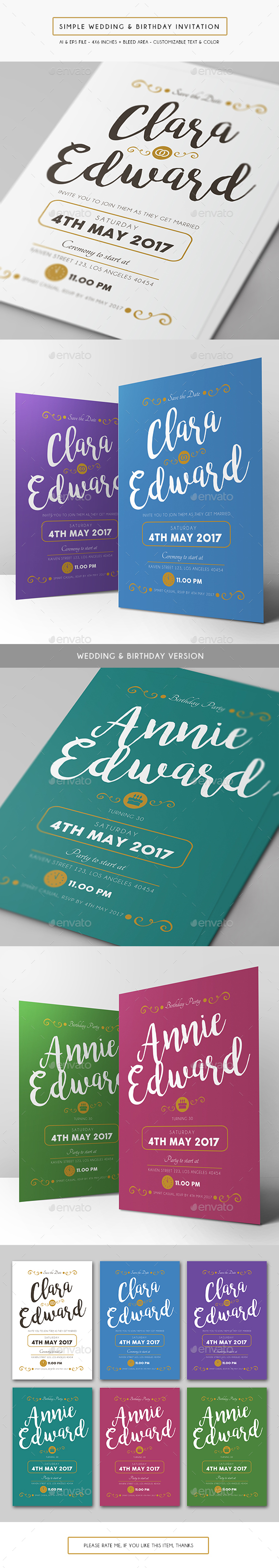 Simple Wedding & Birthday Invitation - Weddings Cards & Invites