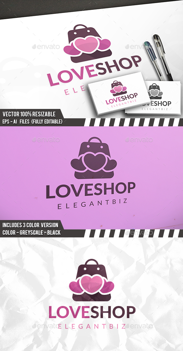 Shopping Love Logo - Symbols Logo Templates