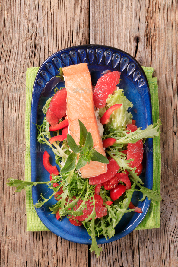 Roasted salmon and salad - Stock Photo - Images