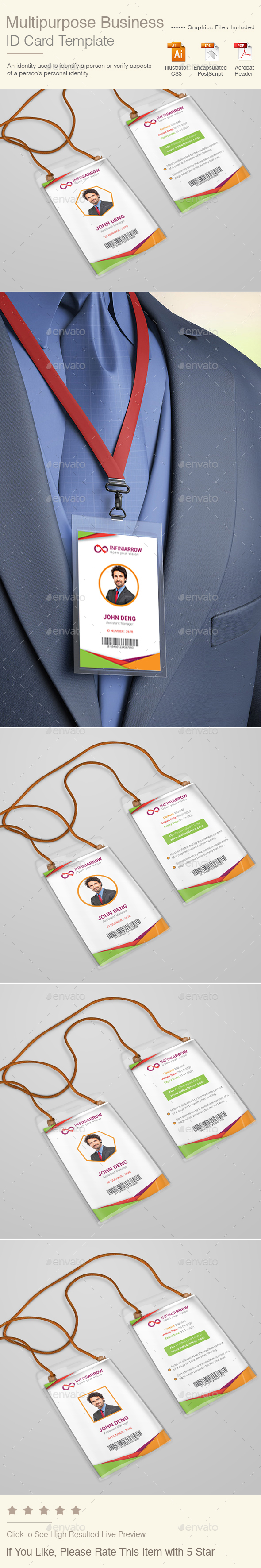 Multipurpose Business ID Card Template - Miscellaneous Print Templates