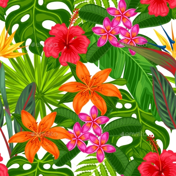 Seamless Pattern With Tropical Plants - Flowers & Plants Nature