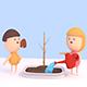 3D Cartoon Kids Watering Green Plants - VideoHive Item for Sale