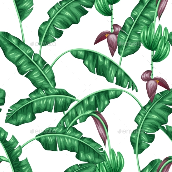 Seamless Pattern With Banana Leaves. - Flowers & Plants Nature