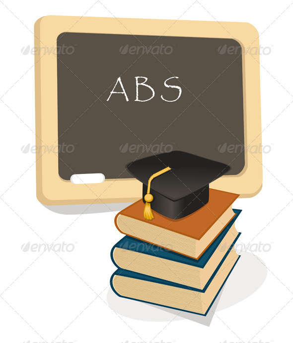 Education Emblem With Books And Mortar Board - Objects Vectors
