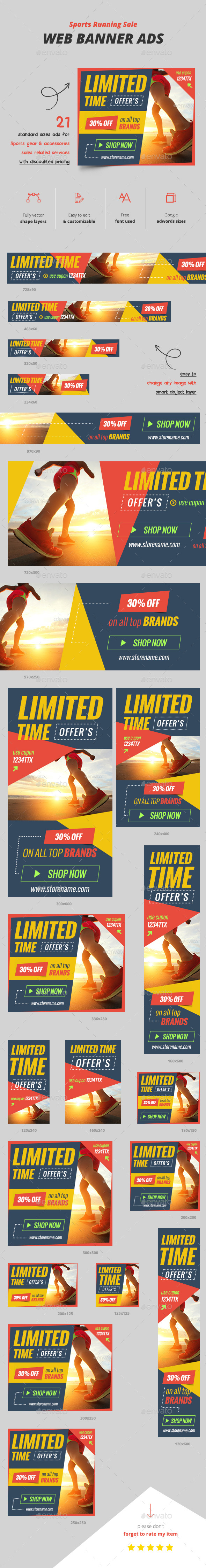 Sports Running Sale Web Ads - Banners & Ads Web Elements